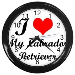 I Love My Labrador Retriever Wall Clock (Black)