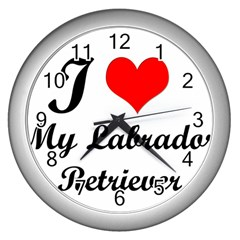 I Love My Labrador Retriever Wall Clock (silver)