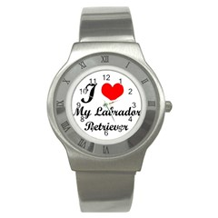 I Love My Labrador Retriever Stainless Steel Watch