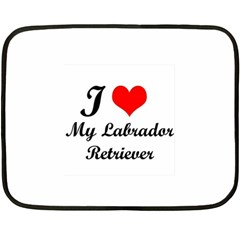 I Love My Labrador Retriever Mini Fleece Blanket(Two Sides)
