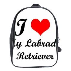 I Love My Labrador Retriever School Bag (Large)