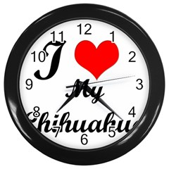 I Love My Chihuahua Wall Clock (Black)