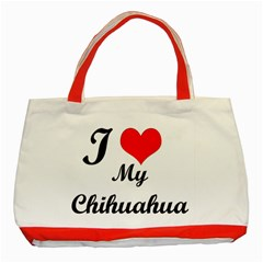 I Love My Chihuahua Classic Tote Bag (red)