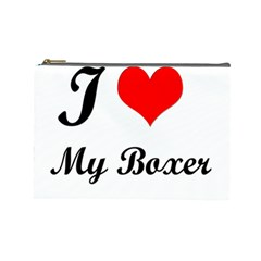 I Love My Boxer Cosmetic Bag (Large)