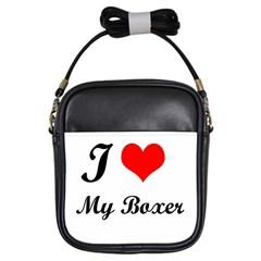 I Love My Boxer Girls Sling Bag