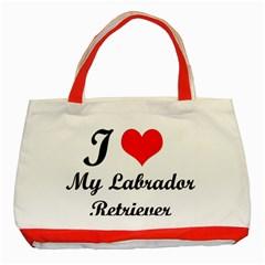 I Love My Labrador Retriever Classic Tote Bag (Red)