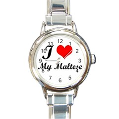 I Love My Maltese Round Italian Charm Watch