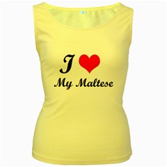 I Love My Maltese Women s Yellow Tank Top