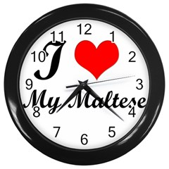 I Love My Maltese Wall Clock (Black)