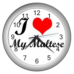 I Love My Maltese Wall Clock (Silver)