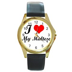 I Love My Maltese Round Gold Metal Watch