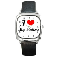 I Love My Maltese Square Metal Watch