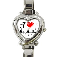 I Love My Maltese Heart Italian Charm Watch