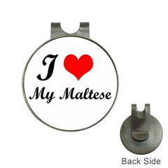 I Love My Maltese Golf Ball Marker Hat Clip