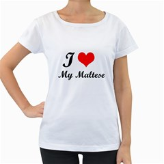 I Love My Maltese Maternity White T-Shirt