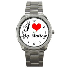 I Love My Maltese Sport Metal Watch