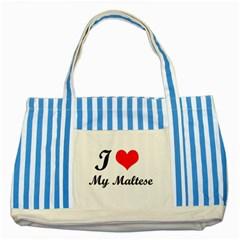 I Love My Maltese Striped Blue Tote Bag