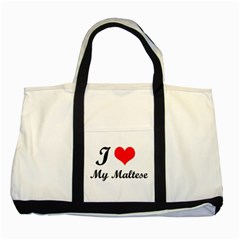 I Love My Maltese Two Tone Tote Bag