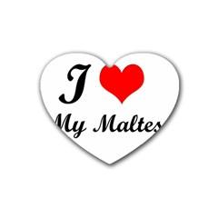 I Love My Maltese Rubber Coaster (Heart)
