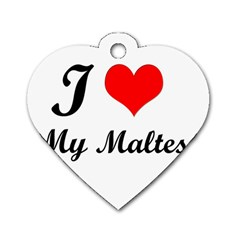 I Love My Maltese Dog Tag Heart (Two Sides)