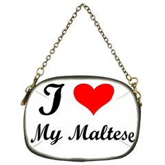 I Love My Maltese Chain Purse (One Side)