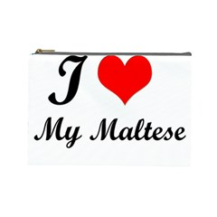 I Love My Maltese Cosmetic Bag (Large)