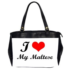 I Love My Maltese Oversize Office Handbag (Two Sides)