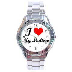 I Love My Maltese Stainless Steel Analogue Men's Watch