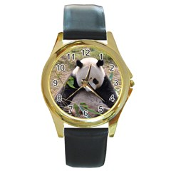 Big Panda Round Gold Metal Watch