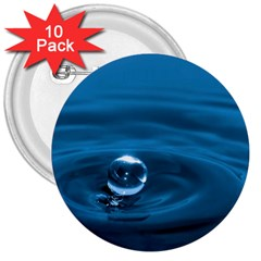 Water Drop 3  Button (10 pack)
