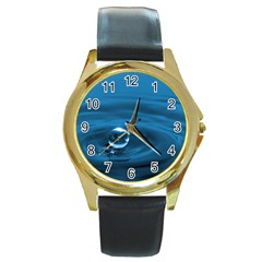 Water Drop Round Gold Metal Watch