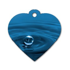 Water Drop Dog Tag Heart (One Side)