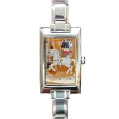 White Horse Rectangular Italian Charm Watch