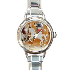 White Horse Round Italian Charm Watch