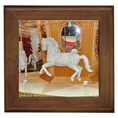 White Horse Framed Tile
