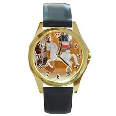 White Horse Round Gold Metal Watch