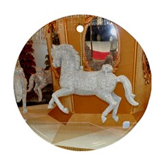 White Horse Round Ornament (Two Sides)