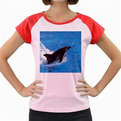 Swimming Dolphin Women s Cap Sleeve T Shirt