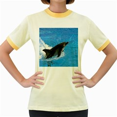Swimming Dolphin Women s Fitted Ringer T Shirt