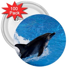 Swimming Dolphin 3  Button (100 pack)