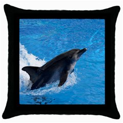 Swimming Dolphin Throw Pillow Case (Black)