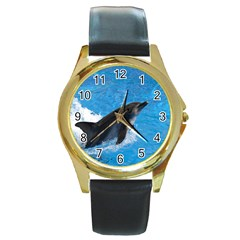 Swimming Dolphin Round Gold Metal Watch
