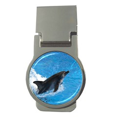 Swimming Dolphin Money Clip (Round)