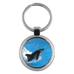 Swimming Dolphin Key Chain (round)
