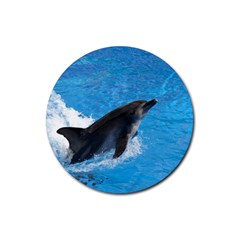 Swimming Dolphin Rubber Round Coaster (4 pack)