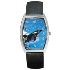 Swimming Dolphin Barrel Style Metal Watch
