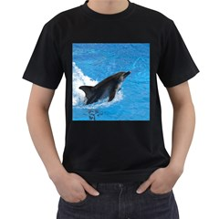 Swimming Dolphin Black T-Shirt (Two Sides)
