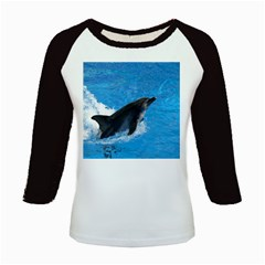 Swimming Dolphin Kids Baseball Jersey