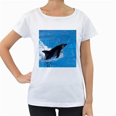 Swimming Dolphin Maternity White T-Shirt