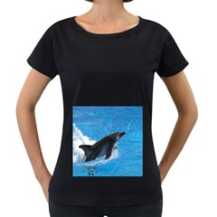 Swimming Dolphin Maternity Black T-Shirt